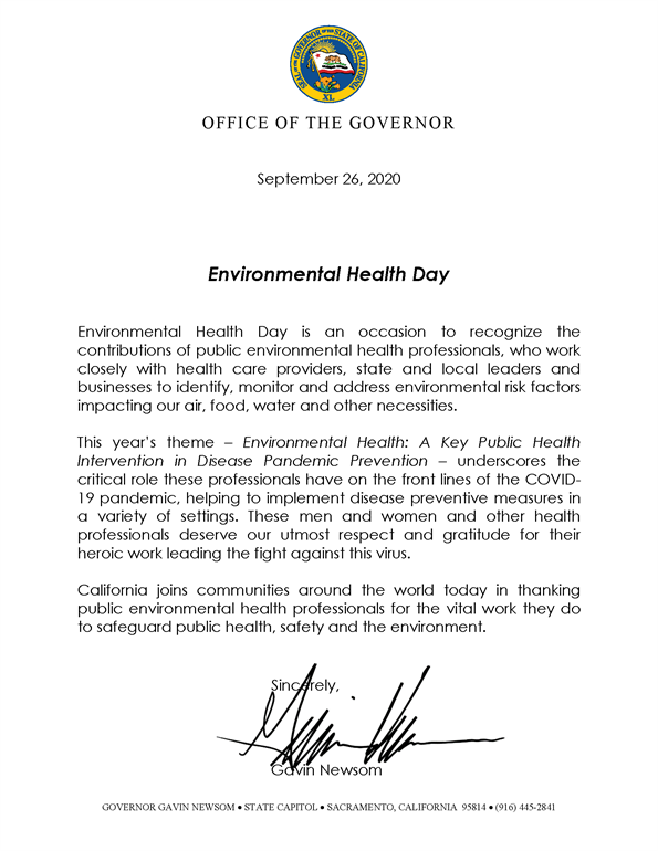 Environmental Health Day - From The Office Of The Governor